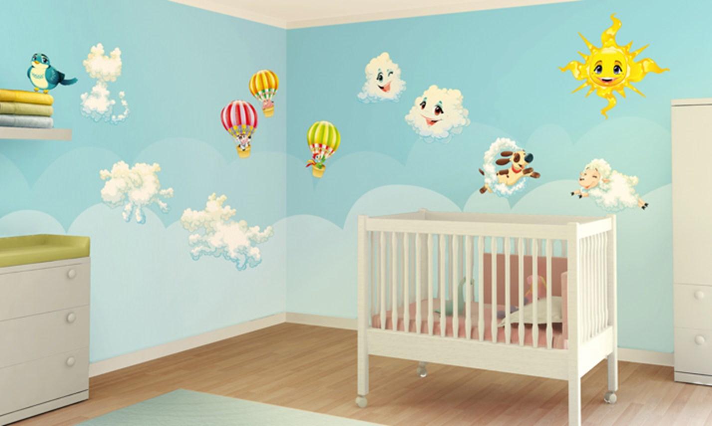 Stickers murali bambini cameretta tra le nuvole leostickers - Decorazioni muri camerette bambini ...